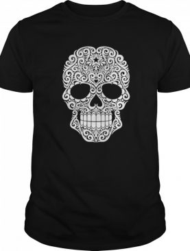 White Swirling Lines Sugar Skull Day Dead shirt