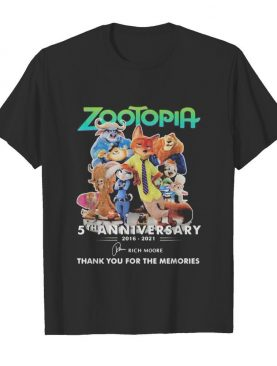 Zootopia 5th anniversary 2016 2020 thank for the memories signatures shirt