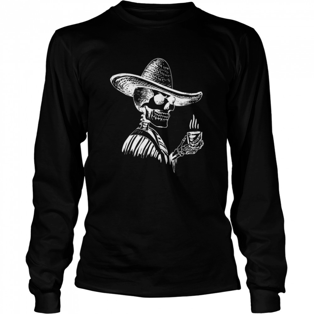 Halloween Coffee Drinking Skeleton Skull  Long Sleeved T-shirt