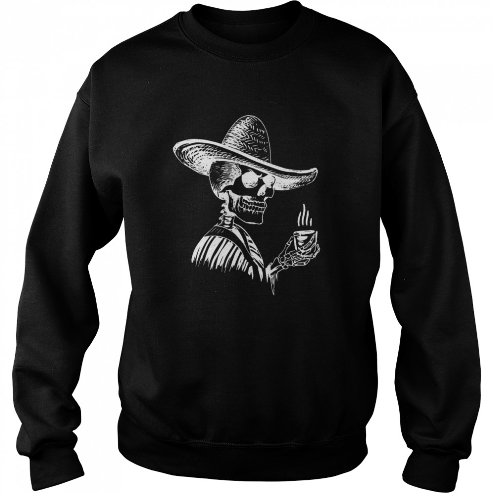 Halloween Coffee Drinking Skeleton Skull  Unisex Sweatshirt