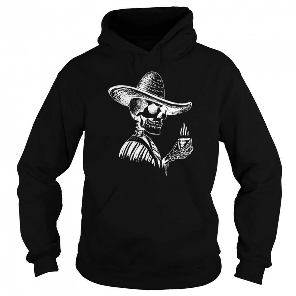 Halloween Coffee Drinking Skeleton Skull  Unisex Hoodie