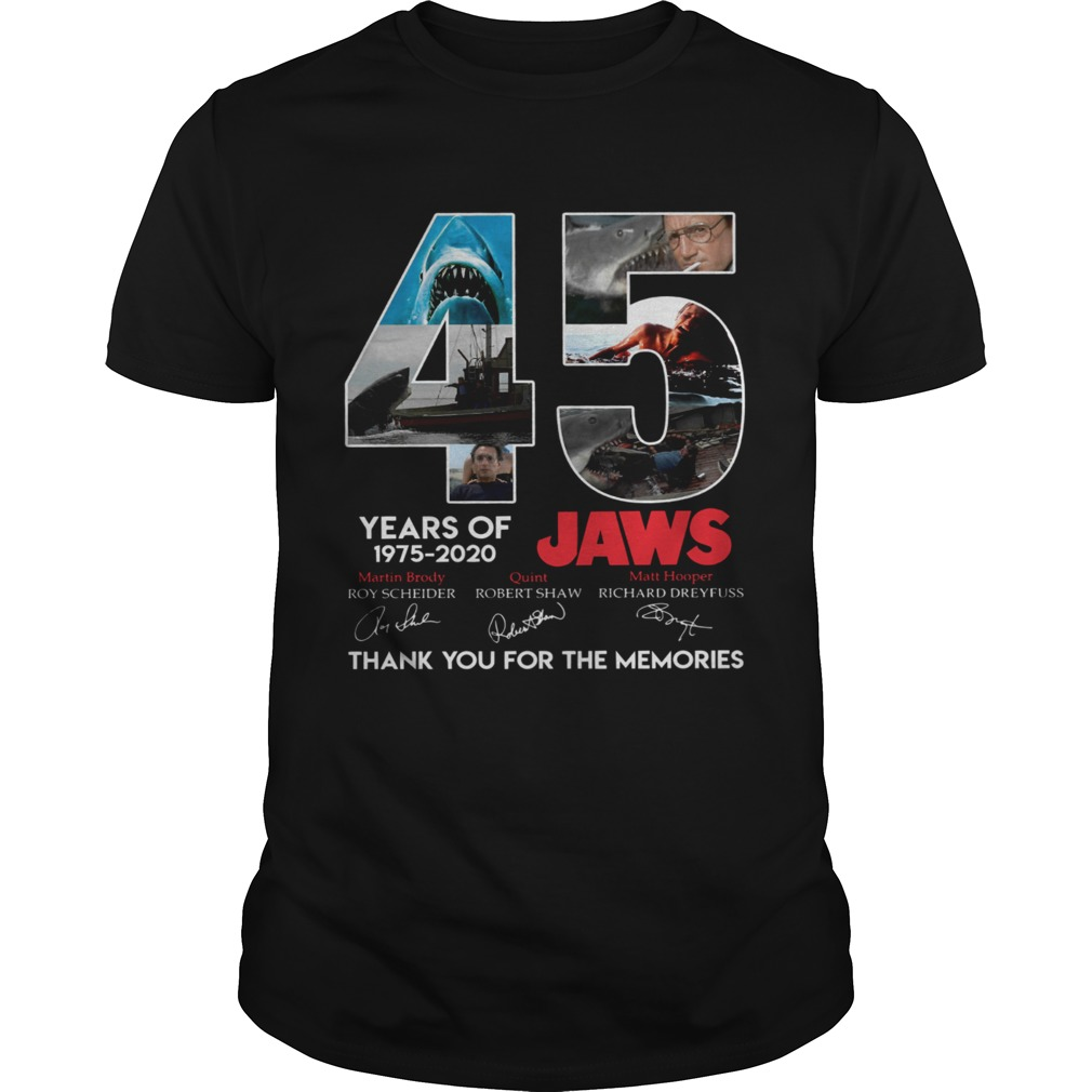 45 Years Of Jaws 1975 2020 Thanks You For The Memories Signatures  Unisex