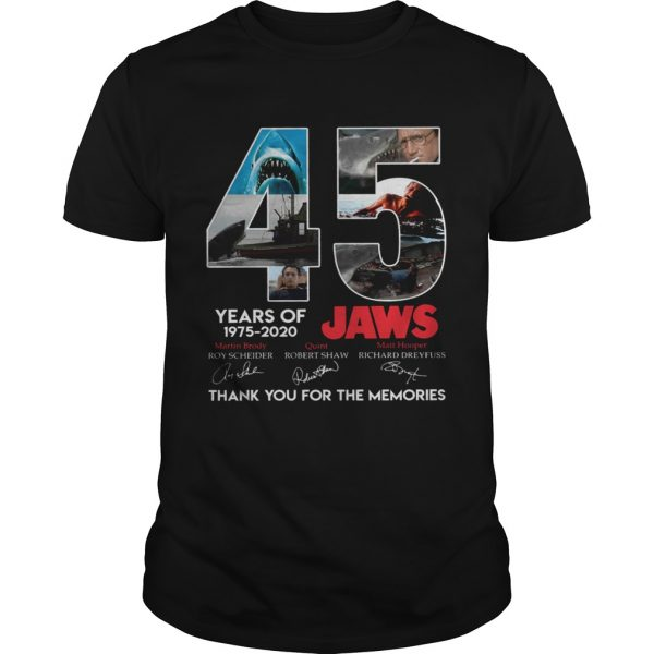 45 Years Of Jaws 1975 2020 Thanks You For The Memories Signatures shirt