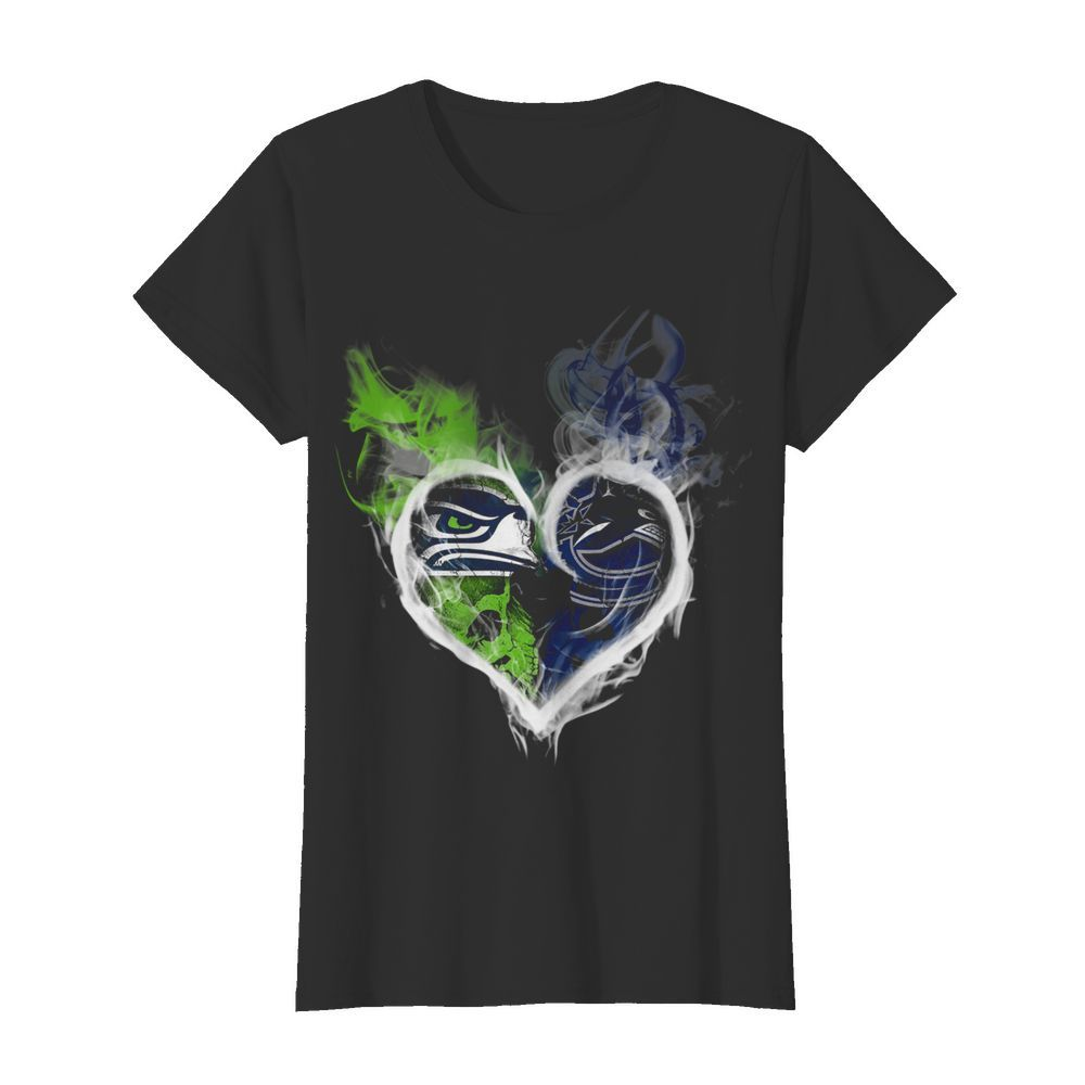 Heart Seattle Seahawks and Vancouver Canucks  Classic Women's T-shirt