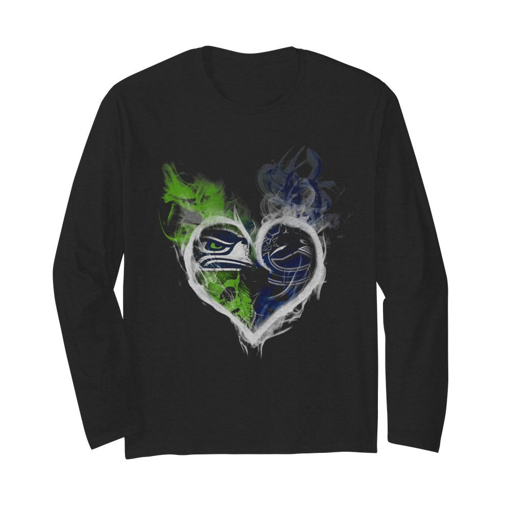 Heart Seattle Seahawks and Vancouver Canucks  Long Sleeved T-shirt