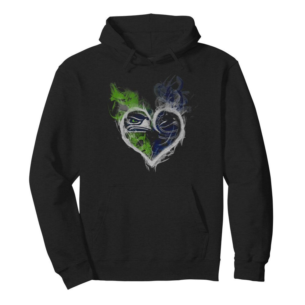 Heart Seattle Seahawks and Vancouver Canucks  Unisex Hoodie