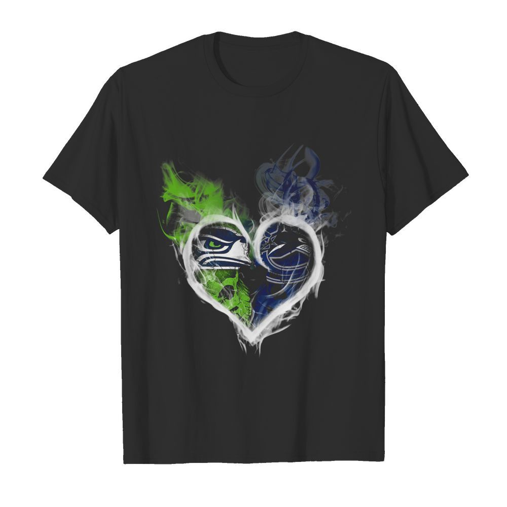 Heart Seattle Seahawks and Vancouver Canucks  Classic Men's T-shirt
