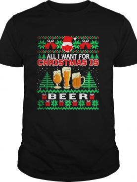 Santa face mask All I Want For Christmas Is Beer Funny Ugly shirt