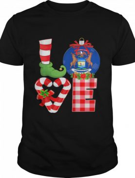 Love Michigan State Flag Pajama Elf Merry Christmas shirt