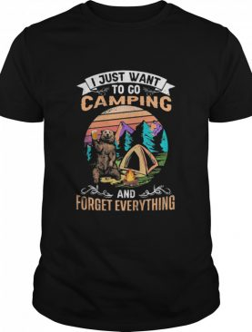 I Just Want To Go Camping And Forget Everything Bear Drink Beer Vintage shirt
