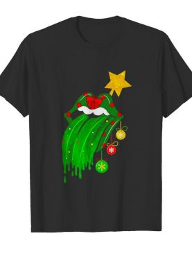 Rock And Roll Rolling Stone Lips Grinch Merry Xmas shirt